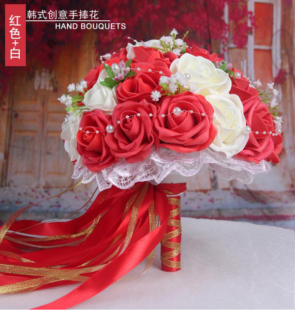 30 Rose Wedding Bouquets 2018 Handmade Bridal Flower Wedding Party Gifts Wedding Accessories Flowers Pears beaded with Ribbon