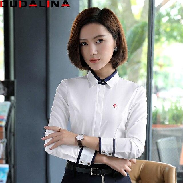 c854680d0 Sólidos Blusas Femininas Camisas Dudalina 2017 Camisa Blanca Camisa de  Manga Larga Ropa de Mujer Ropa