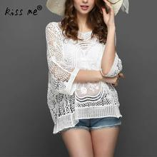 Sexy Transparent Beach Cover Up Hollow Women's Tunic White Cotton Beachwear Cover-Ups Summer Top Clothes for Women