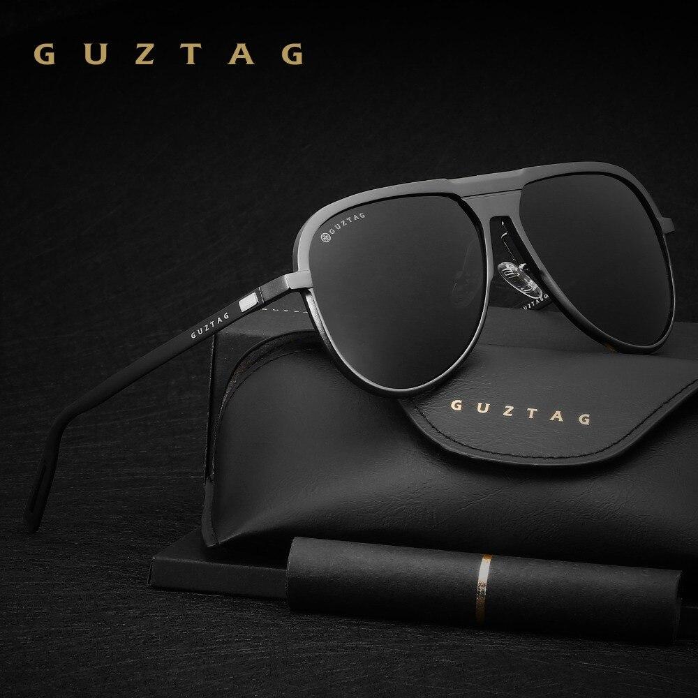 c8725d3b785436 GUZTAG Unisexe Classique Marque Hommes lunettes de Soleil En Aluminium HD  Polarisée UV400 miroir Mâle Lunettes