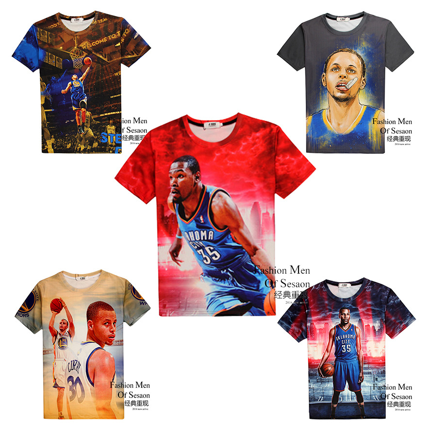 Boy T-Shirt Basketball-Style Short-Sleeve 3d-Print Fashion High-Quality Street Round-Neck