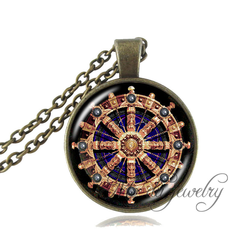 Dharma wheel pendant necklace buddhist jewelry chakra for Zen culture jewelry reviews