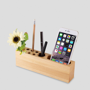 Wooden Creative Computer Desktop Office Pen Container Mobile Holder Sundries Storage Box Desk Organizer Display Decor