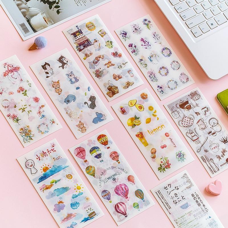 6pcs/lot Cute Fresh Watercolor Cat Paper Sticker Decoration Diary Scrapbooking Label Sticker Kawaii Korean Stationaries Stickers
