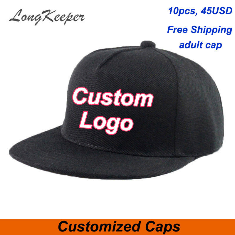 LongKeeper factory wholesale 10pcs/lot custom cap cusotm logo hip-hop,adult and kids custom caps snapback make your design