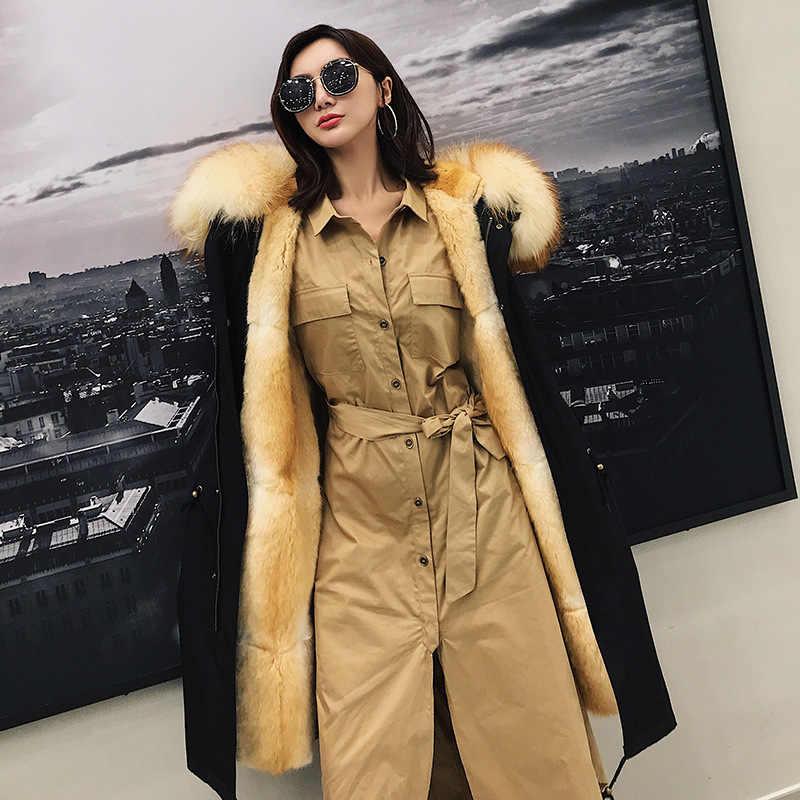 Kış Ceket Kadınlar Marka Su Geçirmez Parka Gerçek Kürk Ceket Doğal Rakun Kürk Yaka Hood Vizon Kürk Astar Çıkarılabilir Streetwear