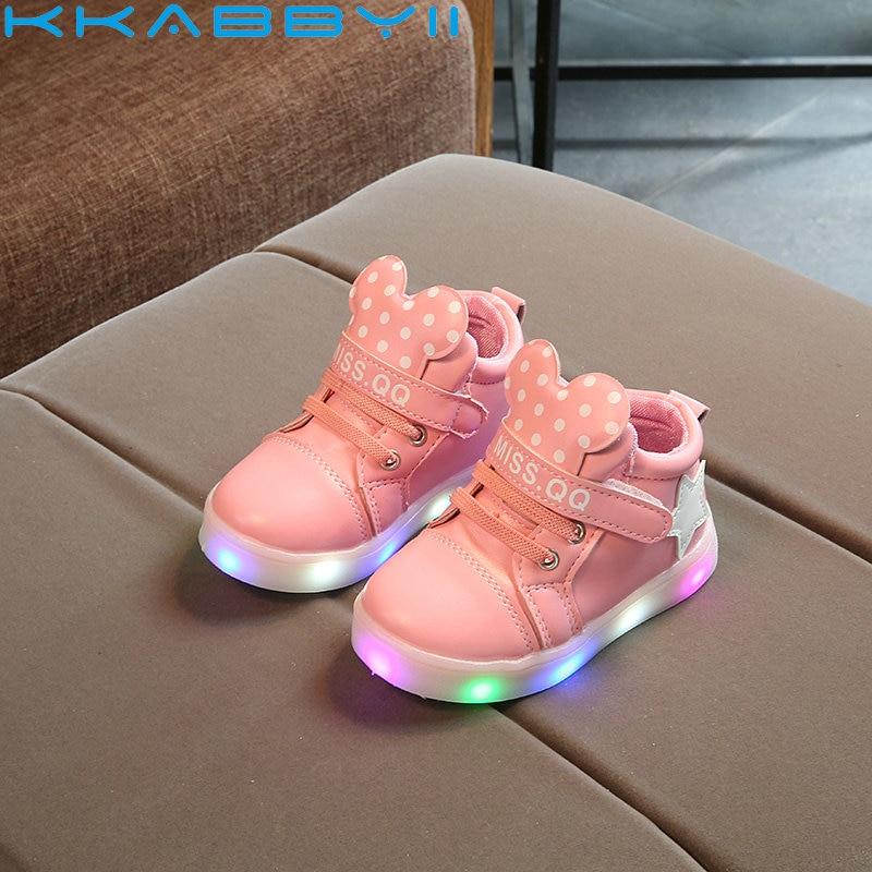 KKABBYII Girls LED Lighted Sneakers Autumn Children Cartoon Boots For Girls Boys Kids Casual Shiny Stars Soft Shoes EU21-30