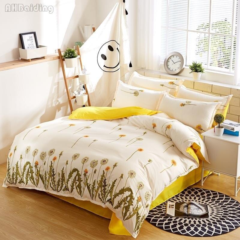 Pastoral Yellow Dandelion Bedding Set Flowers Cotton Bed Linen for Adult/Kid 3/4pcs Bedclothes Duvet Cover Flat Sheet Pillowcase