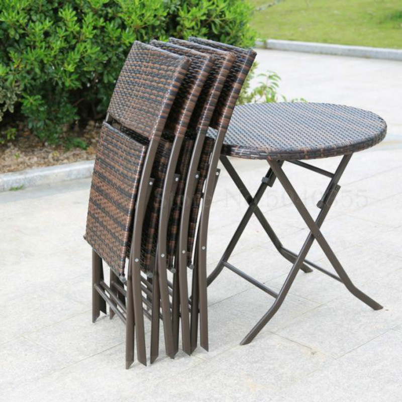 Outdoor Patio Open Air Coffee Table And Chair Fashion Furniture Rattan Folding Set Dinette(China)