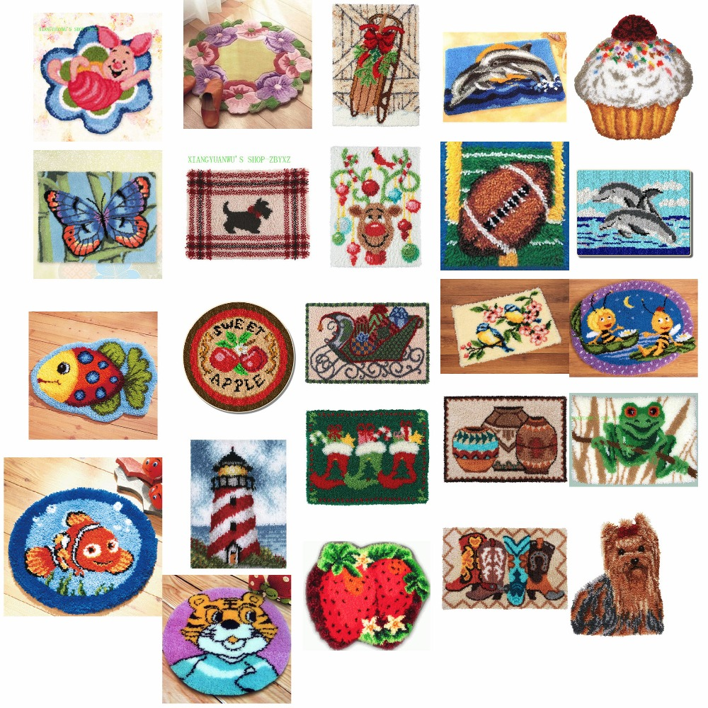 2TH ANIMALS 6 shipping Latch Hook Kit Rug Cushion Pillow Mat DIY Craft Flower Cross Stitch Needlework Crocheting Rug Embroidery