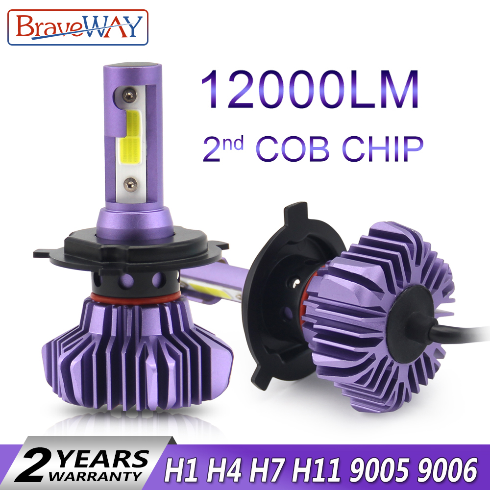 BraveWay LED Bulb for Auto Led Ice Bulb H4 H7 H11 Led Headlight 9005 9006 hb3 hb4 Headlamp 12000LM 6500K 80W 12V Car Light(LED)