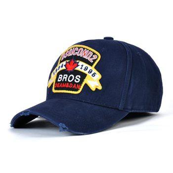 Alta calidad DSQICOND2 DSQ Gorra de béisbol hombres mujeres algodón hoja  bordado azul marino negro Dad sombreros Casquette Gorra Beisbol 1cd3037cd03