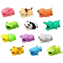 100 Pcs Cute Animal bite Lovely Anti-Break USB Data Cable Protector Winder Saver for iPhone Charger Cord Cover