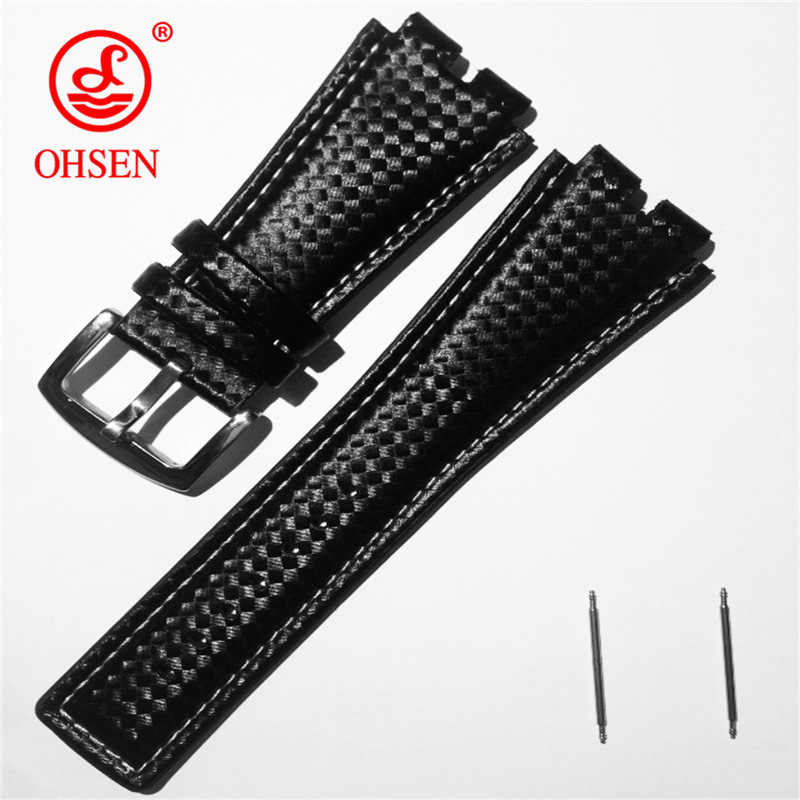 OHSEN AD0930 Watchband Leather Black Watches Band Strap 24mm Watch Accessories Wristband