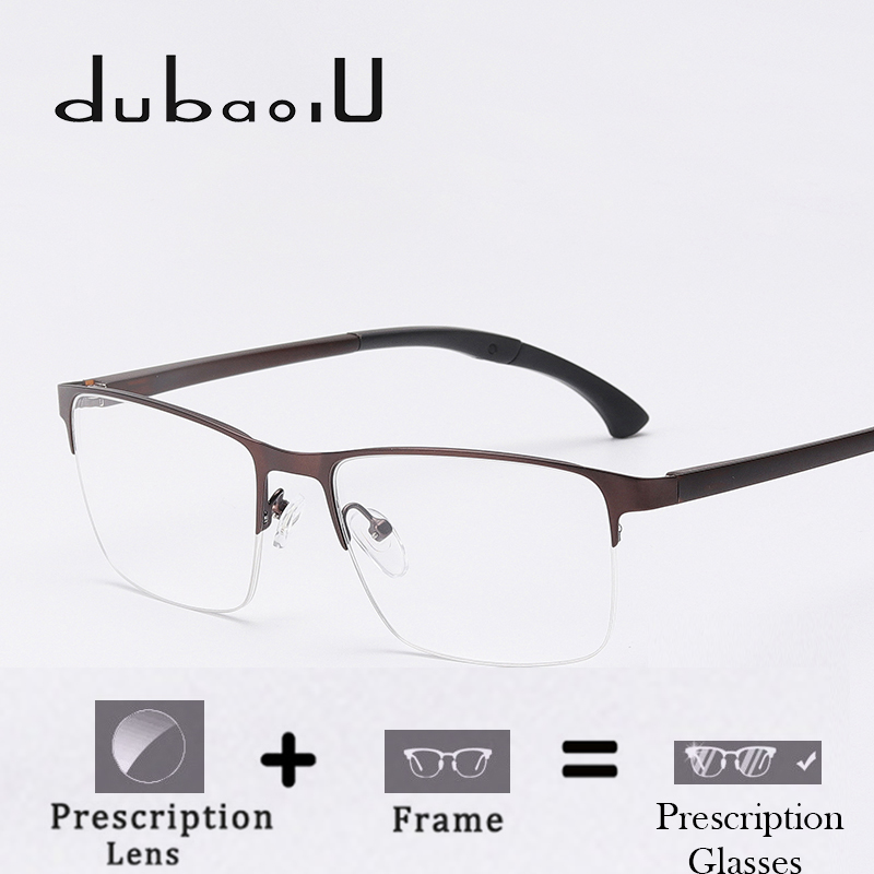Alloy Prescription Spectacles Men Classic Half Rim Clear Optical Photochromic Progressive Anti Blue Prescription Glasses HA09-49