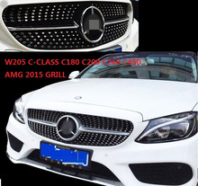 HIGH QUALITY 2015 W205  C-CLASS C180 C200 C260 C450 AMG SPORT FRONT GRILL ABS Plastic Front  Grill FOR W205 C-CLASS AMG GRILL