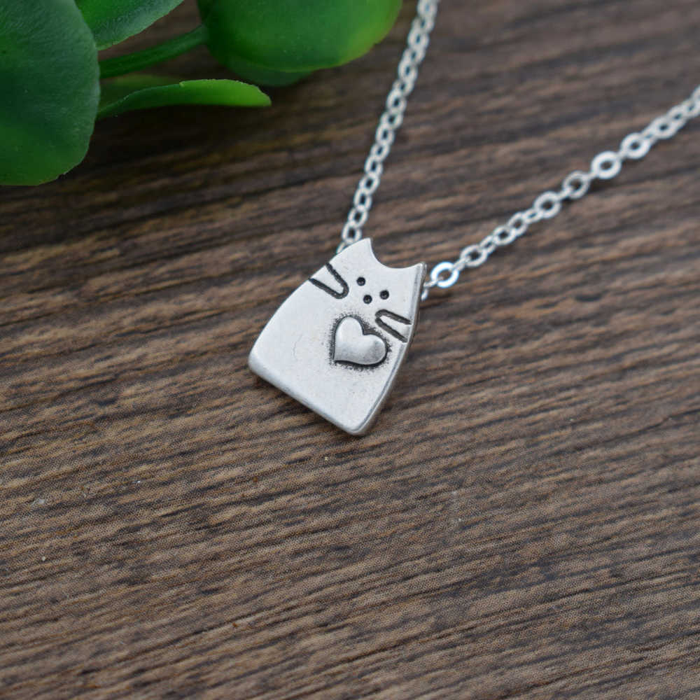 SanLan Little Cat Necklace Crazy cute necklace wome Cat  Lady Jewelry Minimal Fashion Dainty Jewelry  Layering Necklace Gifts