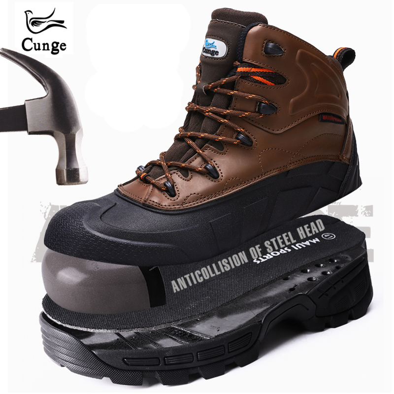 Black Brown Men Hiking Shoes Steel Toe Safety Shoes Waterproof Work Protection Boots Anti collision Shoes