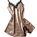 Ladies Sexy Silk Satin Night Dress Sleeveless Nighties V-neck Nightgown Plus Size Nightdress Lace Sleepwear Nightwear For Women