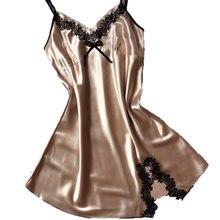 d3b1afa6c3b623 Damen Sexy Silk Satin Nachtkleid Ärmelloses Nachthemden V-ausschnitt Nachthemd  Plus Größe Nachthemd Spitze Nachtwäsche