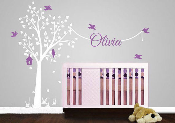 Tree Wall Stickers With Name Decal Elegant Garden Nursery Decor Sticker