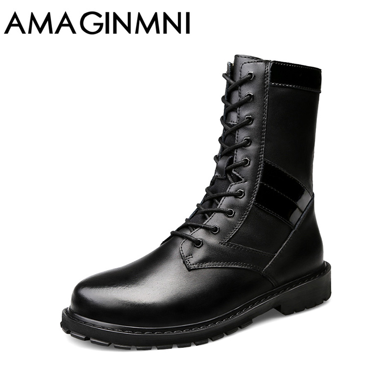 AMAGINMNI 2018 New Shoes men winter boots High Quality Men Boots Winter Snow Warm Casual Shoes Men Boots Leather Big size 37-50 men boots 2015 men s winter warm snow boots genuine leather boots with plus velvet shoes high quality men outdoor work shoes