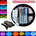 5M Flexible waterproof LED Strip Light RGB rope SMD 5050+44 Key Remote+12V power Free Shipping with retail package