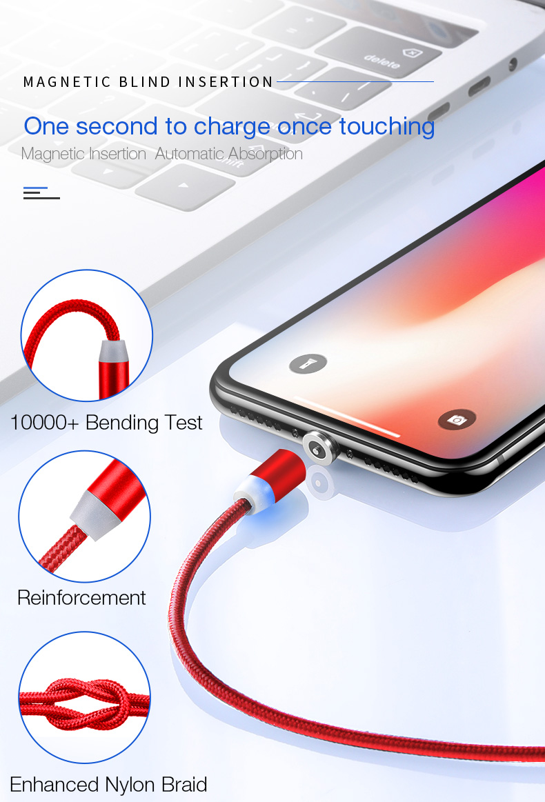 Magnetic usb type c micro cable for iphone x xs max xr 8 7 6 6s plus 5 5s se (3)