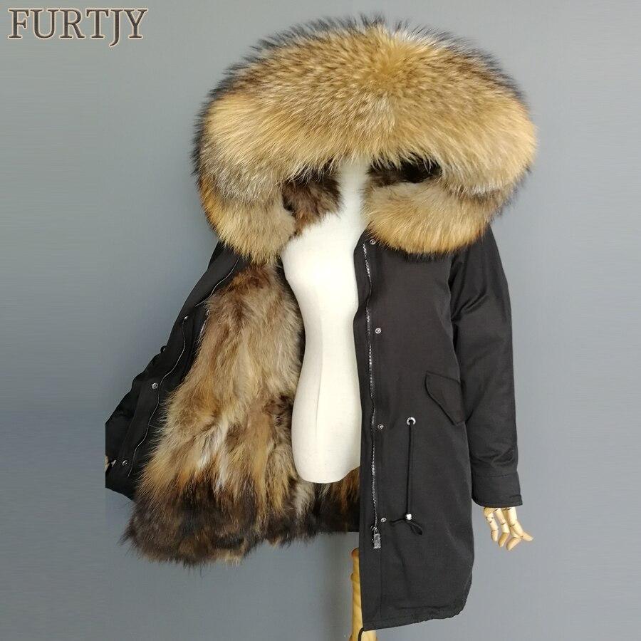 2018 parka naturale della pelliccia di fox del cappotto di inverno del rivestimento delle donne di grande collo di pelliccia di procione cappuccio lungo parka tuta sportiva 3 in 1 marca casual nuovo