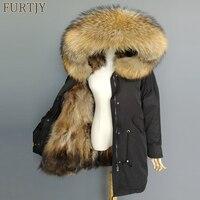 2018 parkas natural fox fur winter coat women jacket big raccoon fur collar hood long parka outerwear 3 in 1 brand casual new