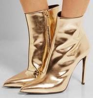 Женские ботинки Осень зима цвет серебристый, Золотой зеркальные кожаные ботильоны сапоги на высоком каблуке с заостренным носком из металл