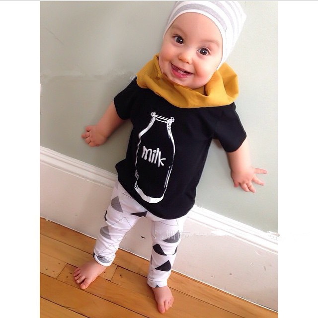2pcs Set Children Clothing Cute Toddler Baby Boy Girls Milk Tops T
