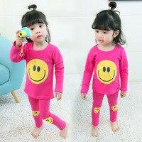 2PCS Kids Baby Pajamas Set Toddler Kid Boys Girls Smiling Face Pajamas Long Sleeve Pyjamas Set