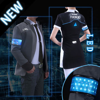 LED Game Detroit: Become Human Connor RK800 Agent Jackets Suit Coat Uniform KARA Tops Unifrom Ball Party Cosplay Costume S-XXXL muñeco buffon