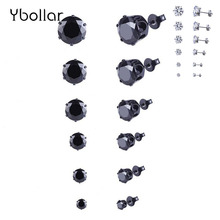 6 Pairs/set Round Stud Earrings For Women Girls Black Zircon Crystal Piercing Jewelry 3/4/5/6/7/8mm