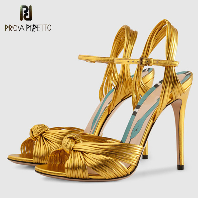 Prova Perfetto <font><b>2018</b></font> New Gold High <font><b>Heels</b></font> Women Sandals <font><b>Sexy</b></font> Narrow Band Bowknot Thin High <font><b>Heel</b></font> <font><b>Shoes</b></font> Woman Sandlas Big Size 34-43 image