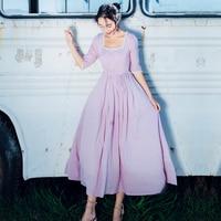 Jessica's Store Spring Women Vintage Elegant Slim Court Style Square Collar Half Sleeve Lace Cotton Long Cinderella Dress