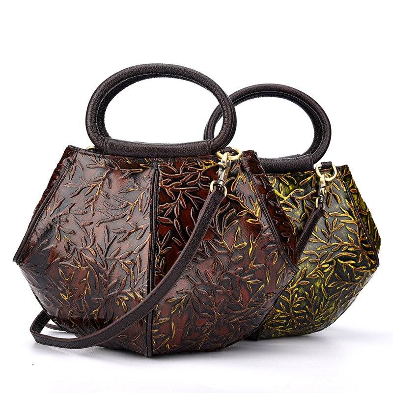 Women's Vintage Fashion Style Genuine Leather Tote Cross Body Shoulder Sling Bag Messenger Handbag Bag For Female LS9062 26%