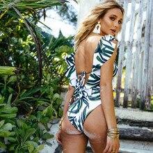 סקסי ביקיני 2019 בגד ים בגדי ים חתיכה אחת בגד ים Push Up נשים לפרוע Monokini מתכוונן כתף ללא משענת בגד ים