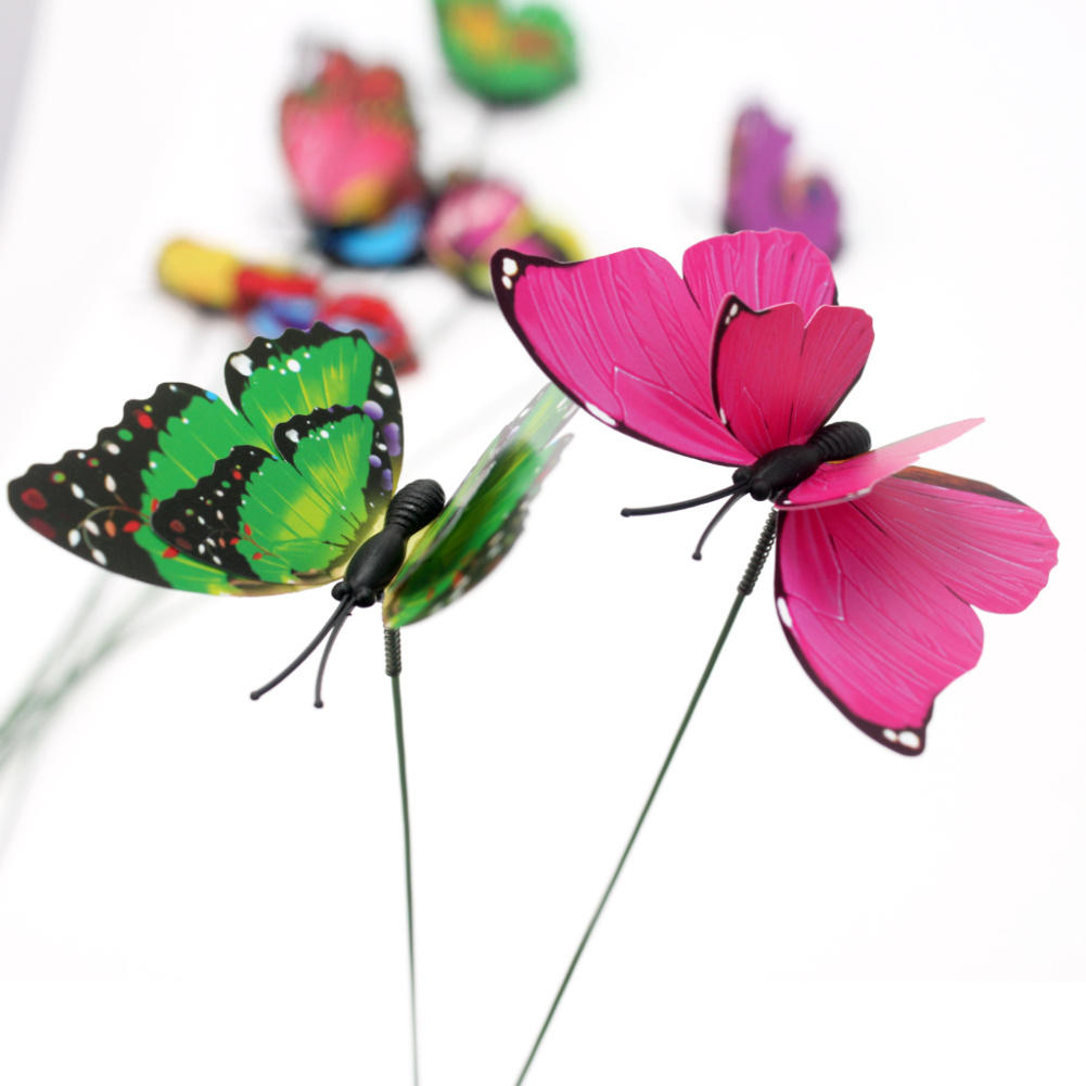 Butterfly lawn ornaments - 10pcs Colorful Stylish Double Layer Butterfly On Sticks Home Flowerpot Plant Decoration Garden Ornament Lawn Craft