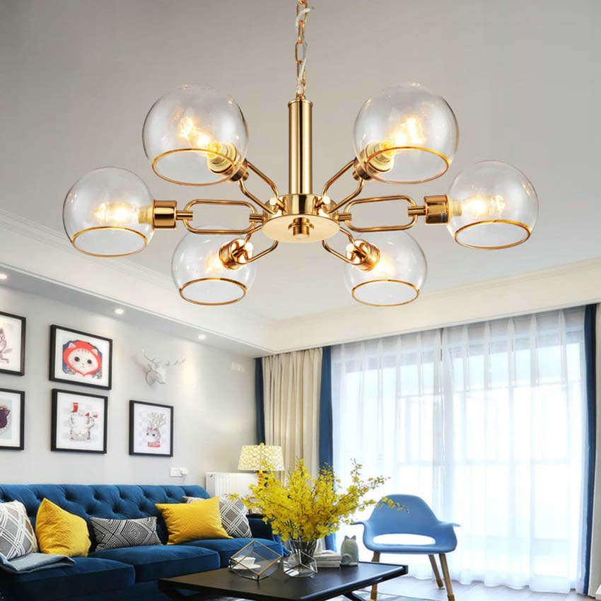 Nordic modern Gold pendant lamps 368 heads E14 clear glass ball bubble iron hanging lamps for living room restaurant bedroom