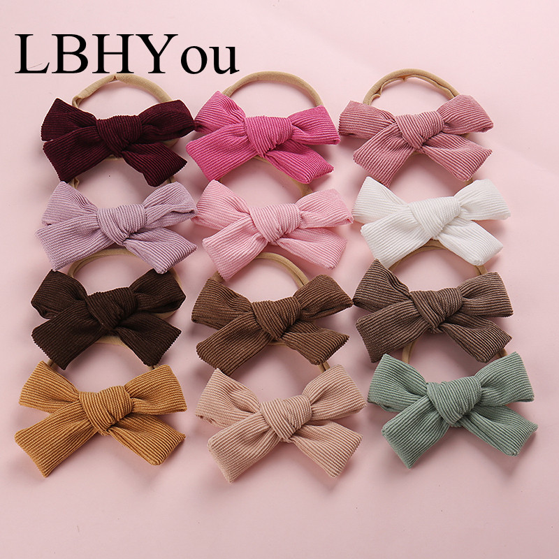 2019 New Corduroy Bows Nylon Headbands,Big Size School Girls Hand Tie Bowknot Head Bands,Children Hair Accessories 20 pcs