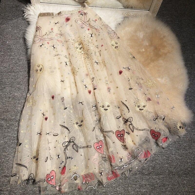 New  Half Length Skirt Long  INS  Heavy Duty Embroidery  Female Natsu Tonyria And The Same Gauze Skirt