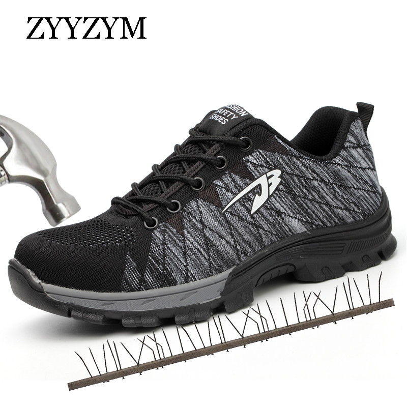 ZYYZYM Men Work Safety Shoes Steel Toe Cap Casual Shoes Men Non-slip Puncture Outdoor Boots halinfer men s safety shoes with steel toe cap air mesh round toe breathable casual fashion outdoor men safety boots