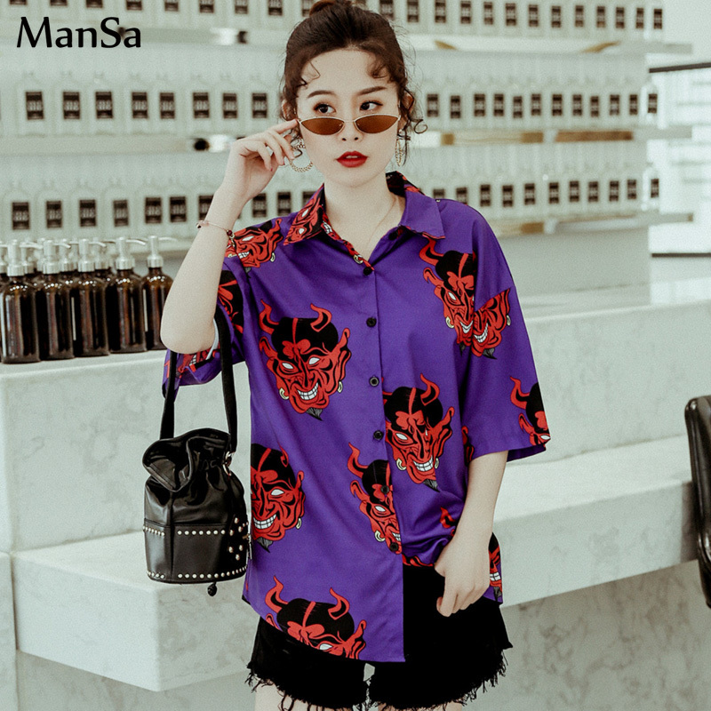 Harajuku clothes   blouses   Devil print Summer new Women   Blouse   Punk Casual Loose Short Sleeve   Shirt   Tops Female hip hop streetwear