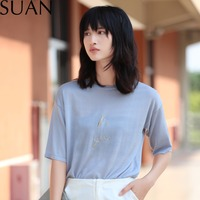 SUAN 2017 Embroidery Be You T Shirt Women Loose Grey Basic Tees Tops All Match T