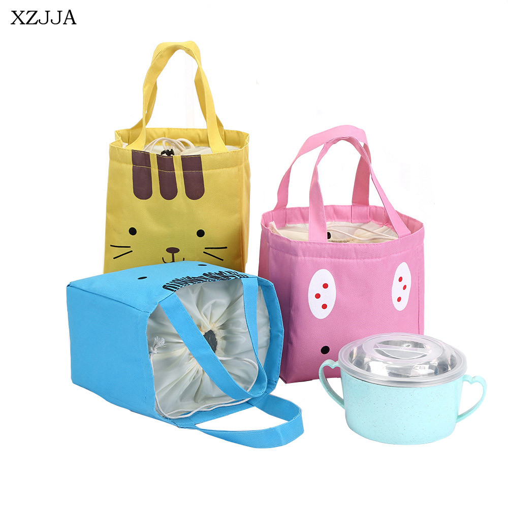XZJJA Cute Cartoon Canvas Storage Bags Portable Picnic Travel Heat Preservation Lunch Bag Drawstring Type Food Fruit Cooler Bag
