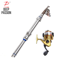 DEEP PASSION Mini Sea Fishing Rod Spool Set Tackle Carbon Telescopic Portable Rod Kit Rod Pole Holder For Fishing Pesca Sea Pole