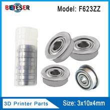 цены 1/10Pcs F623ZZ 3d printer flange bushing ball bearings 3x10x4 mm Mini Metal Double Shielded Flanged Ball Bearings For 3D printer
