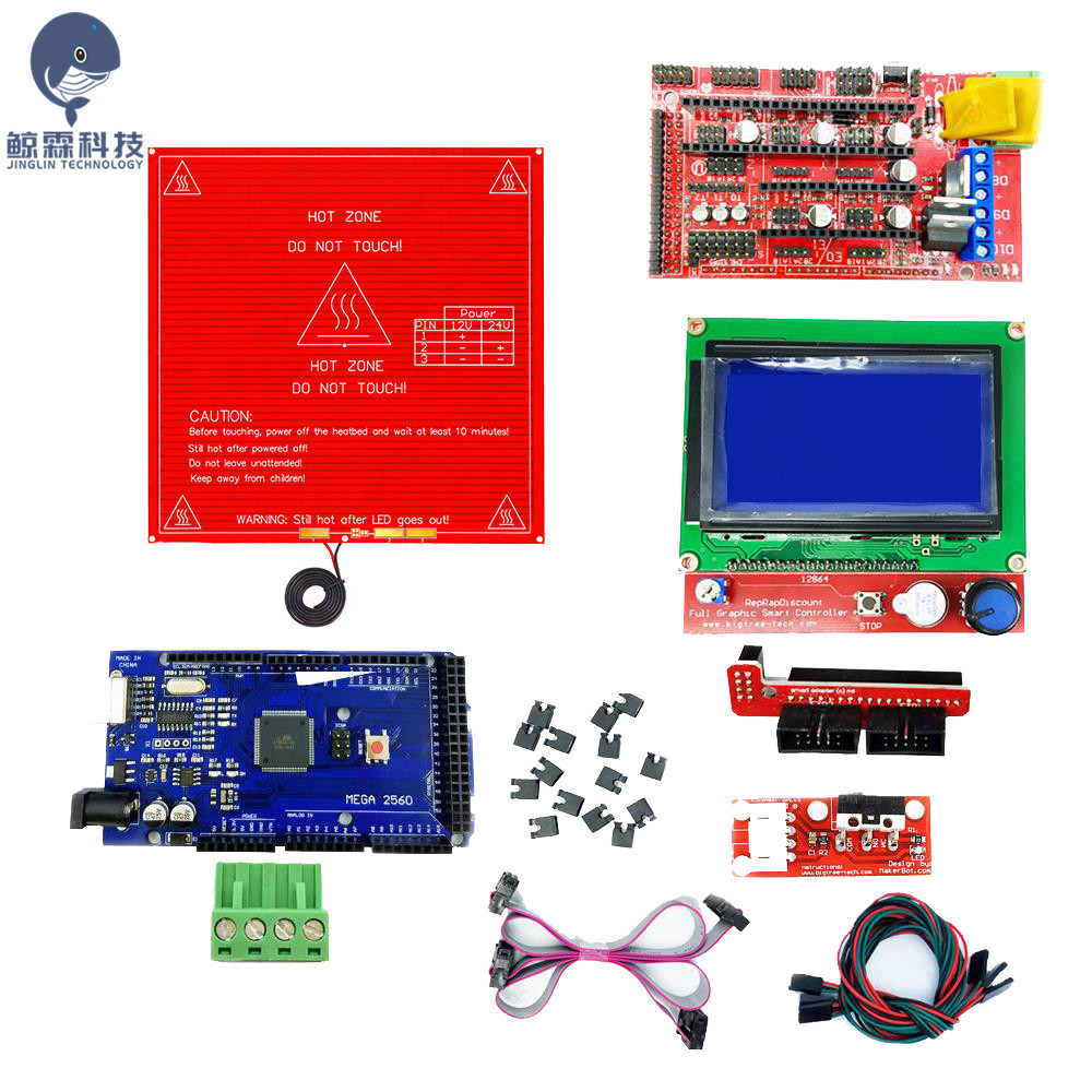 CNC 3D Printer Parts Kit RAMPS 1.4 Controller + LCD 12864 + 6 Mechanical Limit Switch Endstop+ Mega 2560 R3 + Heated Bed MK2B